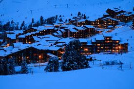 Snowcovered ski resort at dusk